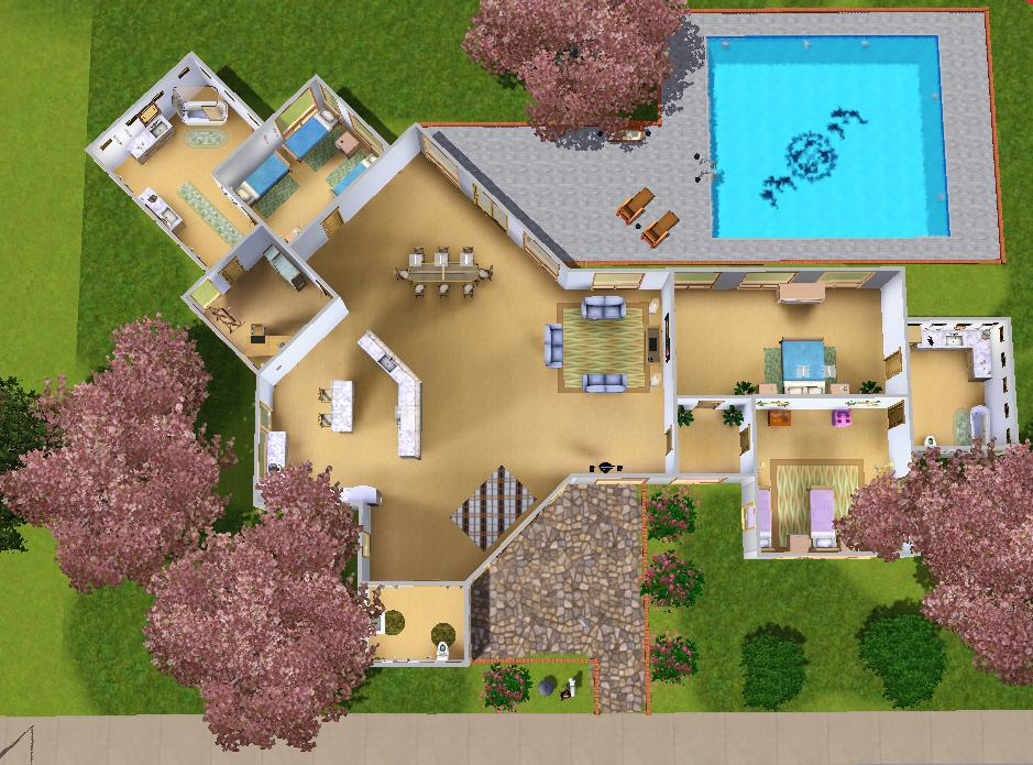 Mod the sims modern house for a big family for House plans for family of 4
