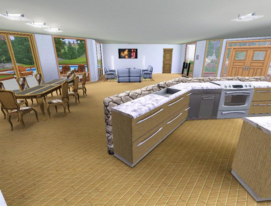 Mod the sims modern house for a big family for Large family living room