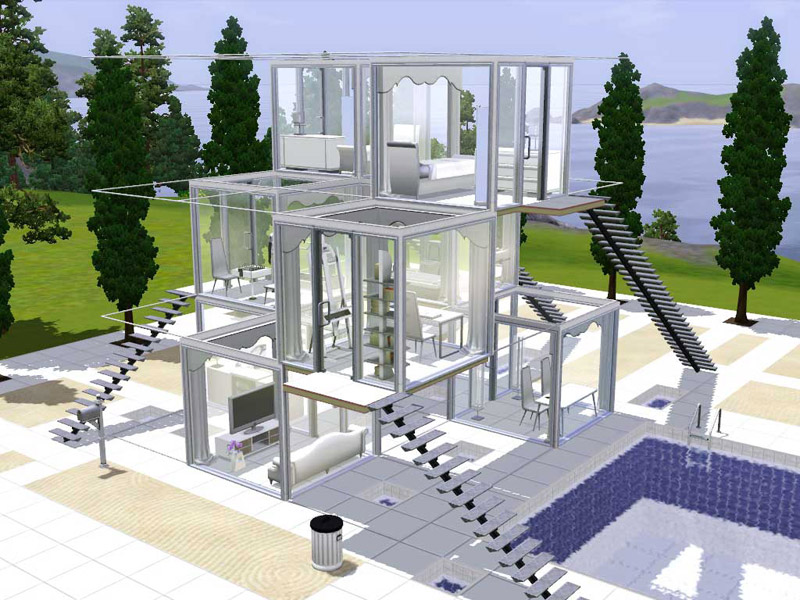 Mod the sims viewity hyper modern beach home for Beach house plans sims 3