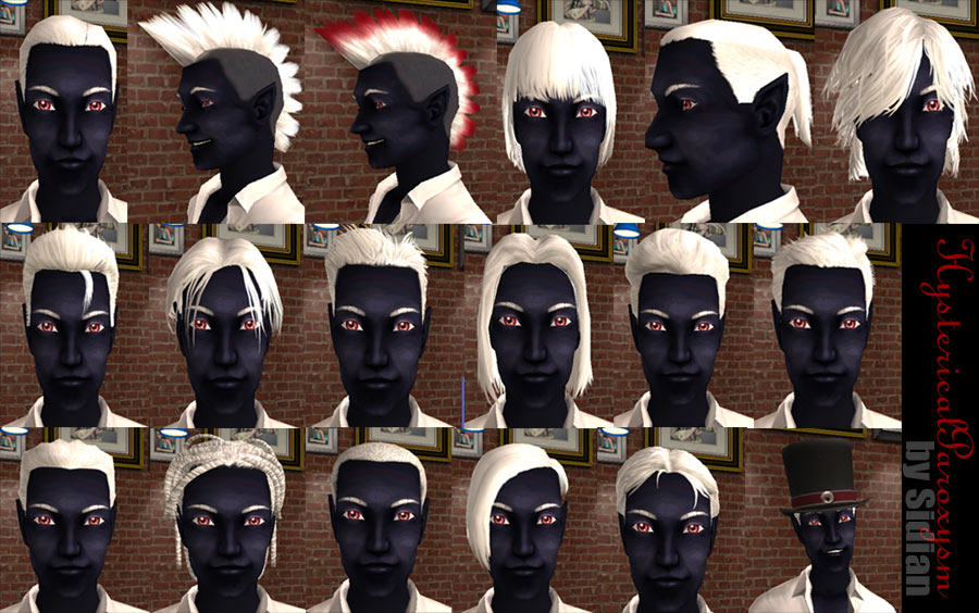 Mod The Sims - 18 White Hairstyles for Male Drow + Eyebrows!
