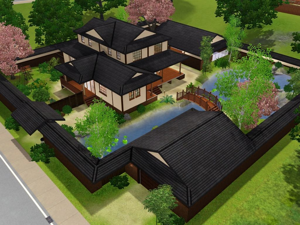 Mod the sims himeya inn another japanese house for Maison traditionnelle japonaise minka