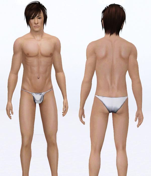 Mod The Sims - Mens Skimpy Metallic Swimsuit