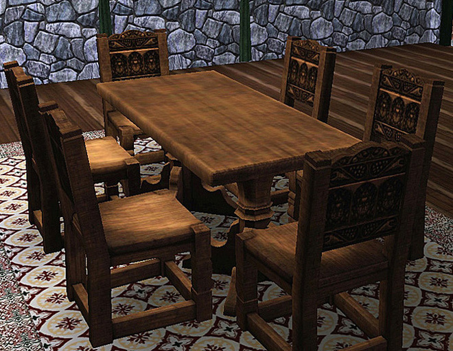Mod the sims medieval dining table and chairs sims 2 for Medieval living room furniture