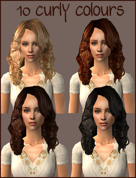Mod The Sims - A curly hairstyle in 10 colours