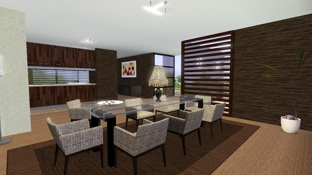 Mod the sims aleya modern for Sims 3 dining room ideas