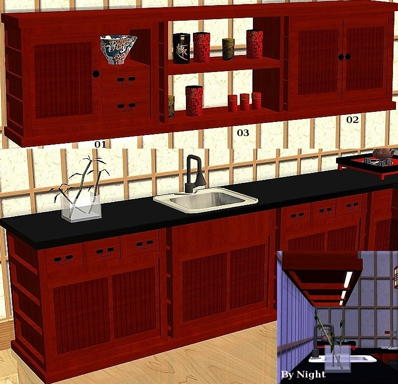Mod the sims japanese inspired kitchen set sushi 13 for Kitchen set name