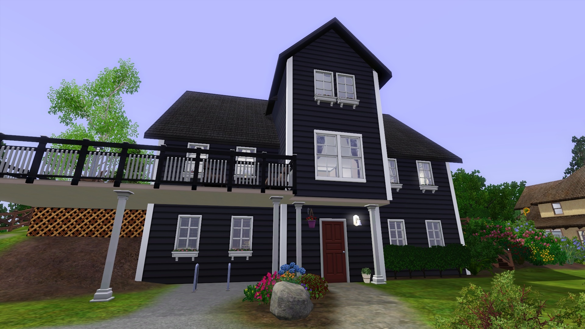 Mod the sims norwegian house for Black stone house
