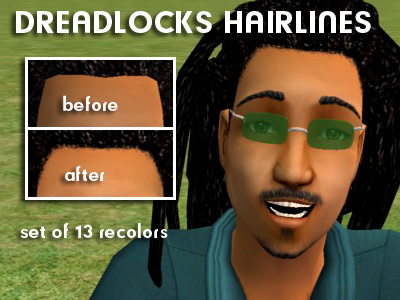 Mod The Sims - Hairlines for Compulsive D's dreads -- set of 13 colors
