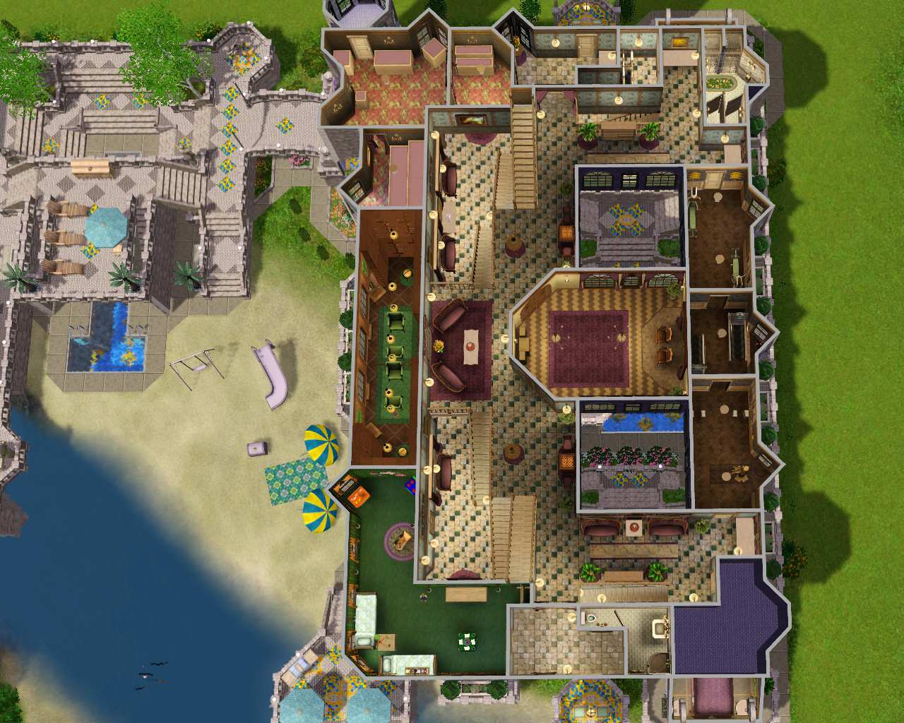 Mod the sims the fantasy mansion no cc for Sims mansion floor plans