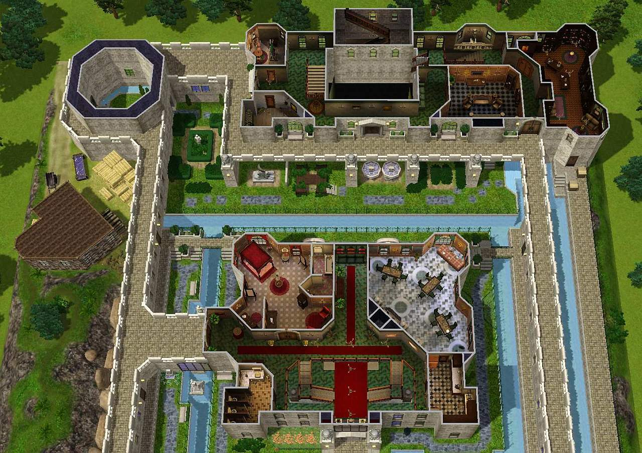Mod the sims zelda castle inspired by ocarina of time for Mansion floor plans sims 4