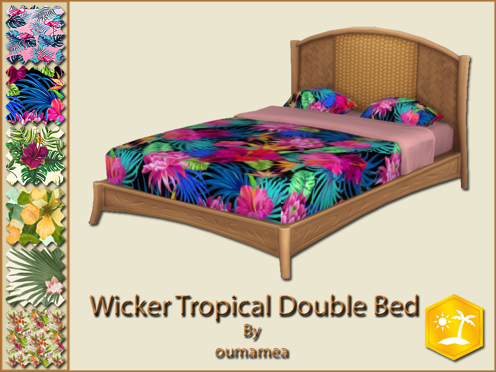 Mod The Sims Mea Wicker Tropical Double Bed