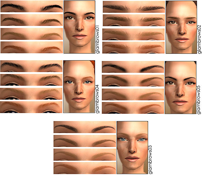 Mod The Sims Glam Eyebrows 5 Different Sets