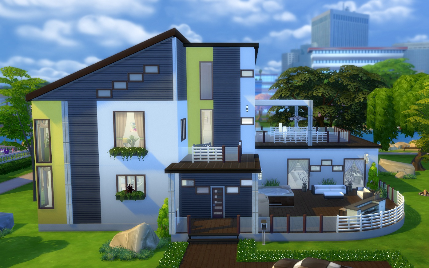 Mod the sims yellow rose nocc modern mansion for Modern house yellow