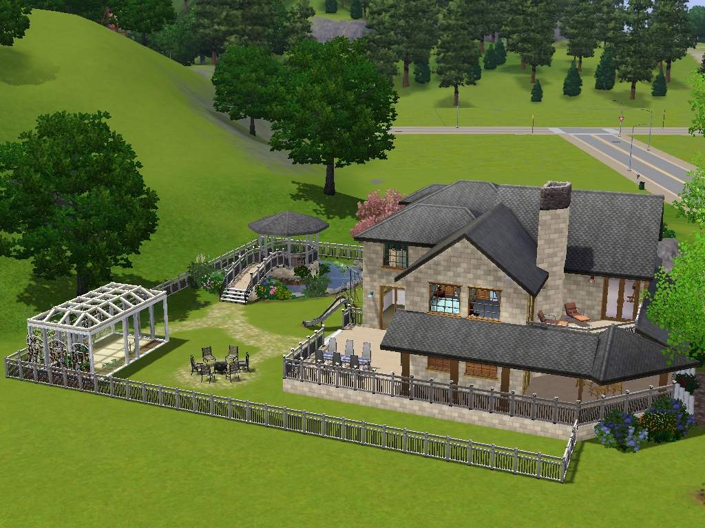 Mod The Sims Luxury Home With Gazebo Greenhouse And