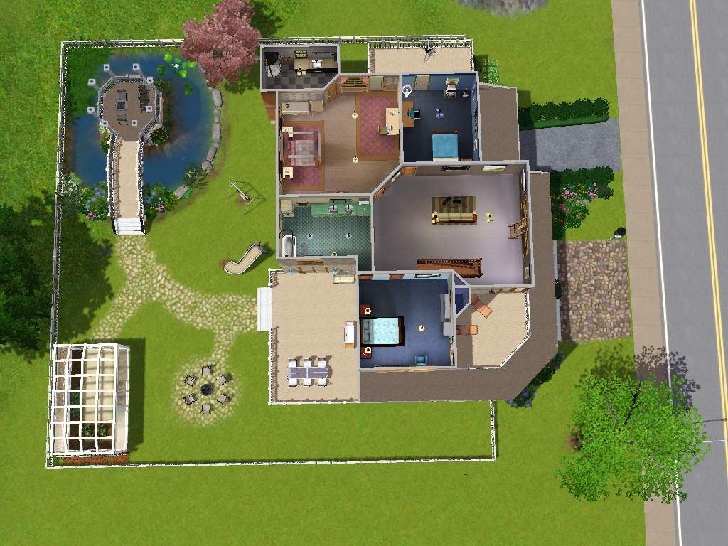 Mod the sims luxury home with gazebo greenhouse and for Classic underground house