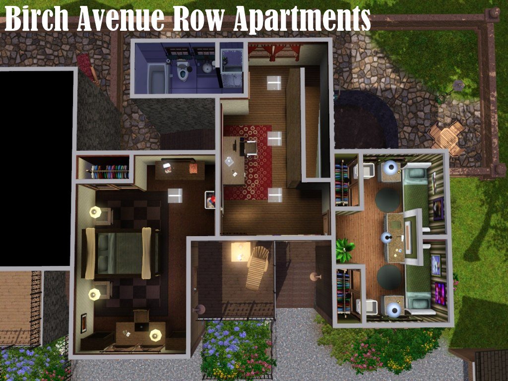 Mod the sims birch avenue row apartments for Apartment design sims 3