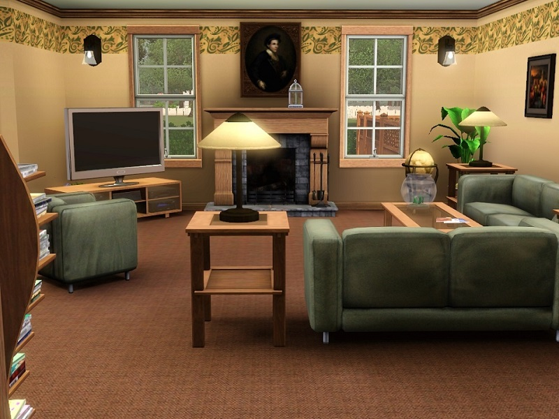 Mod the sims suburban living 2br 1 ba for Living room ideas sims 3