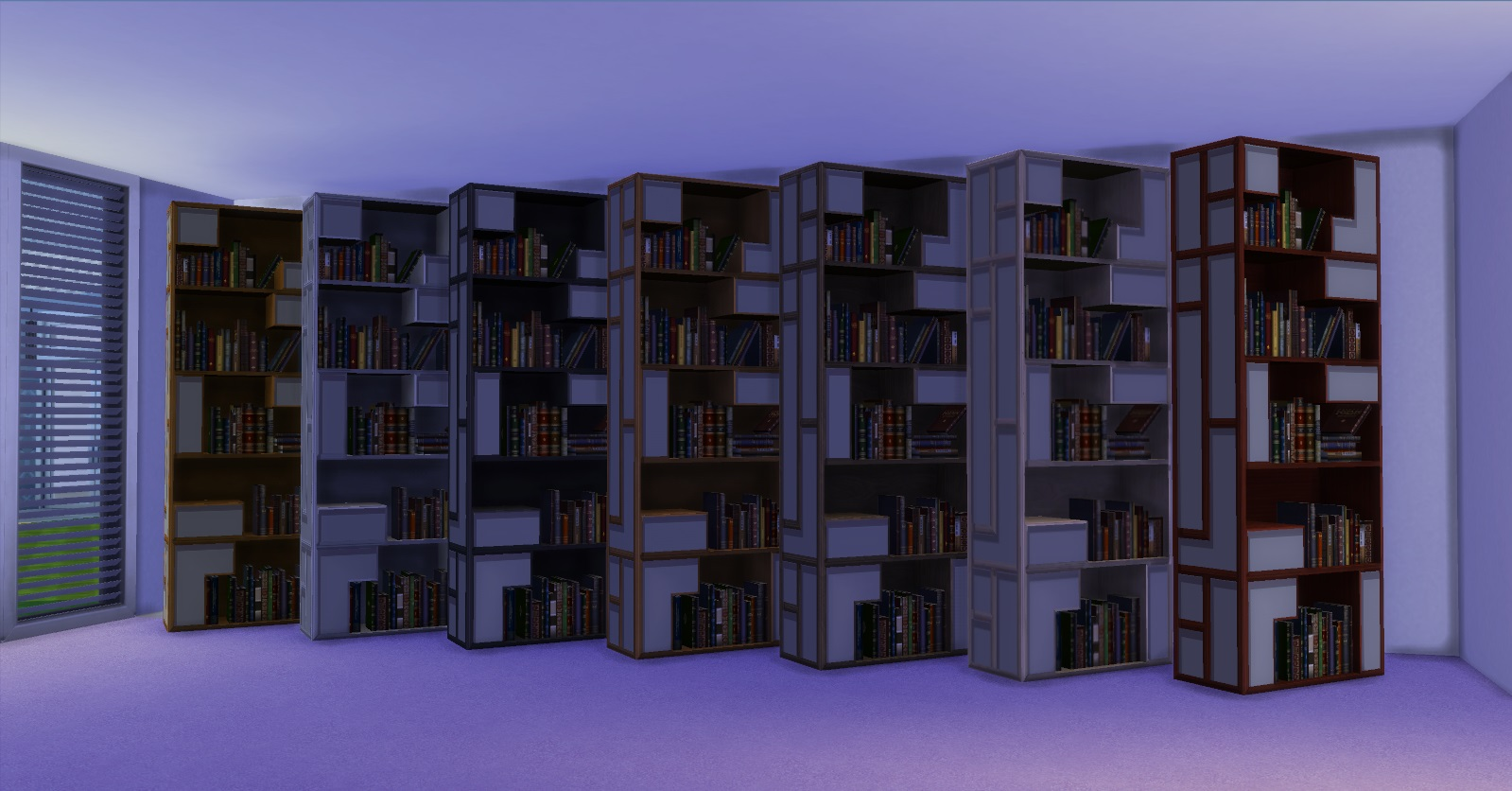Very Impressive portraiture of Mod The Sims Poetic Bookshelf with #4A4685 color and 1599x836 pixels