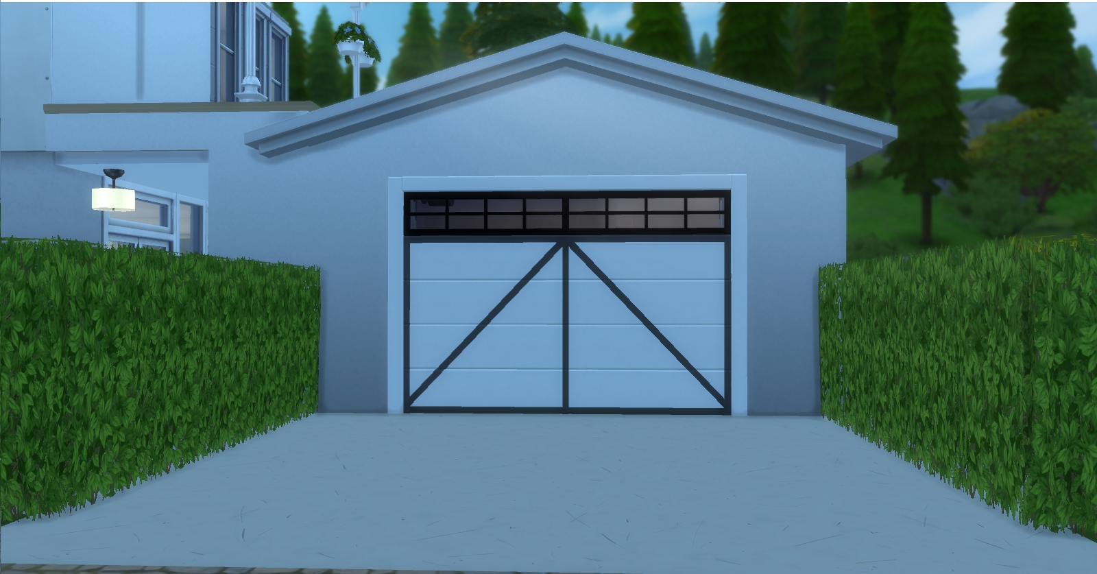 Mod the sims garages for 1 5 car garage door