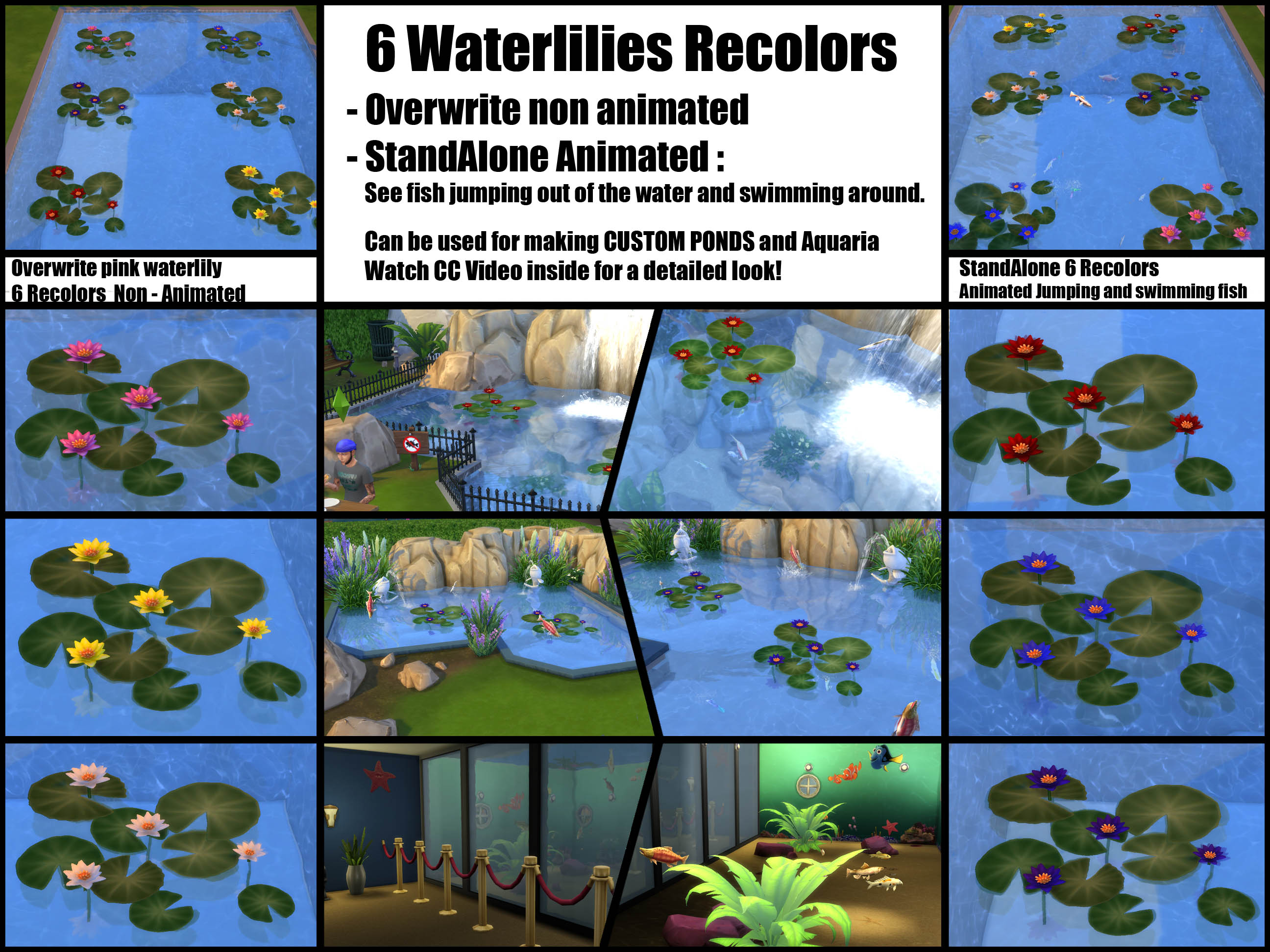 Mod the sims waterlily recolor animated fish for Sims 4 fishing