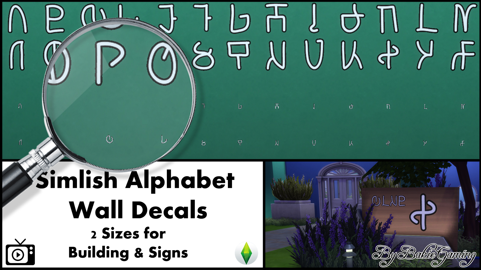 Mod the sims simlish alphabet wall decals for Alphabet wall mural