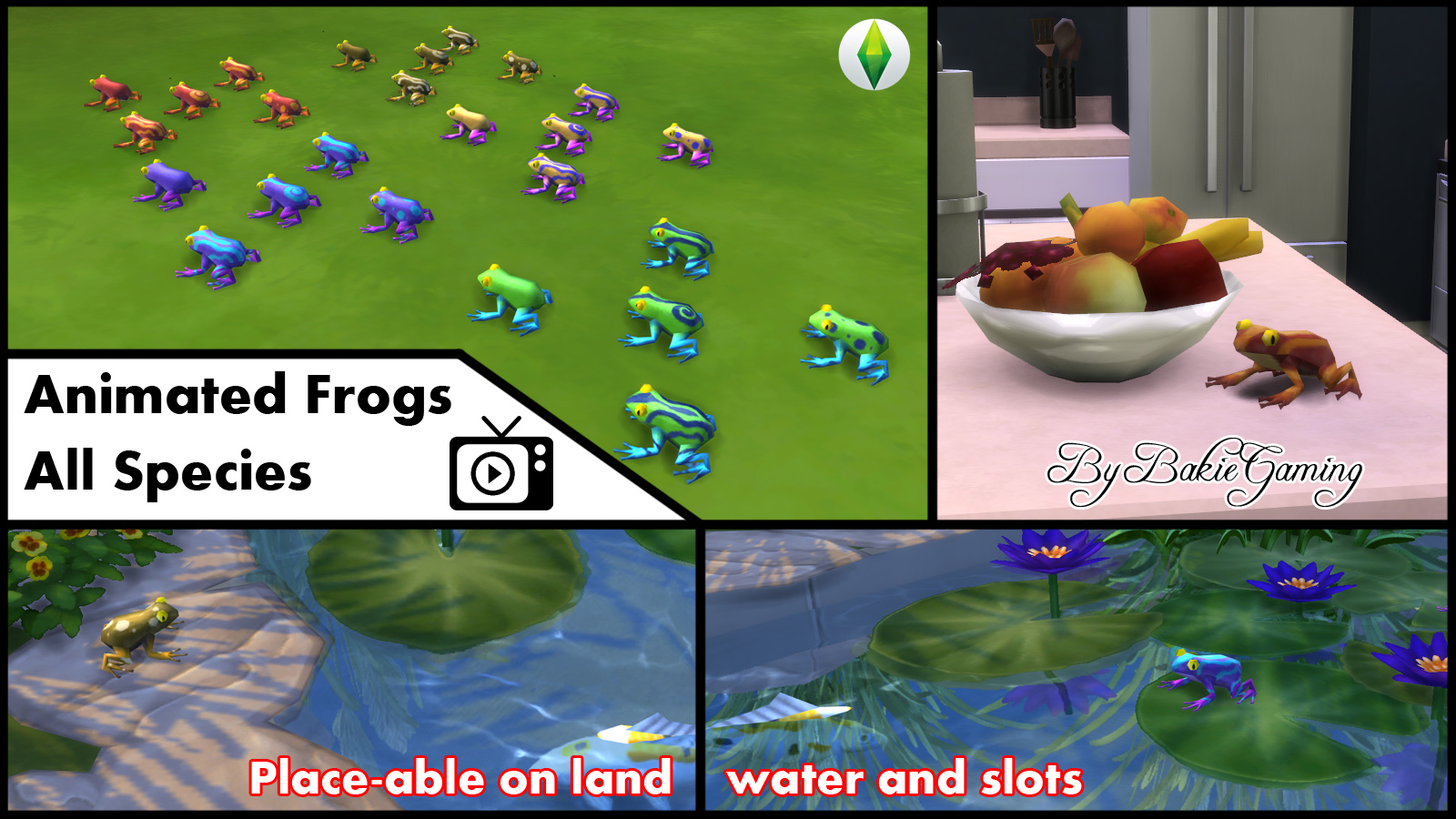 mod the sims animated frogs all 25 species