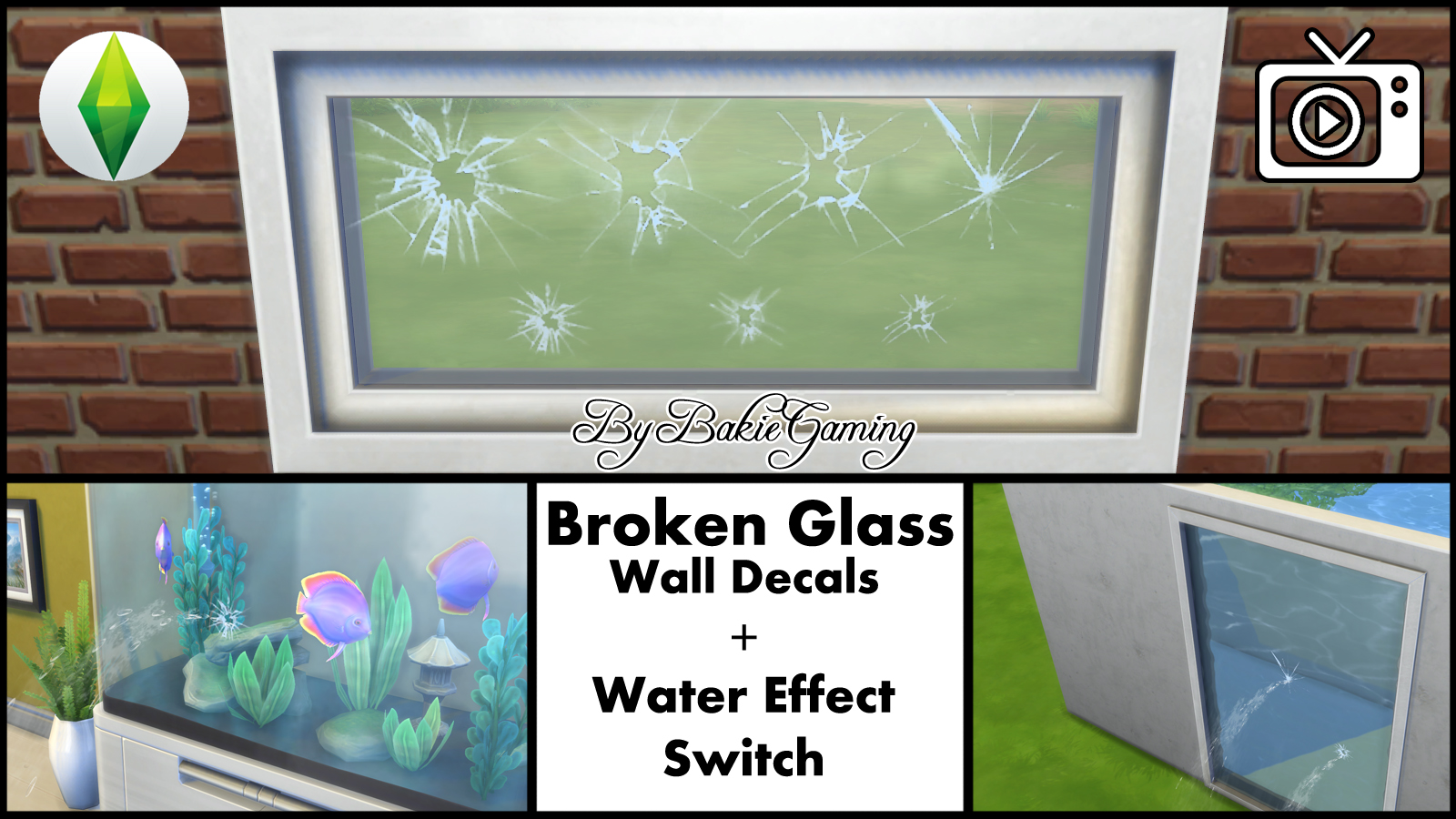 Mod the sims broken glass wall decal water effect switch for Broken glass mural