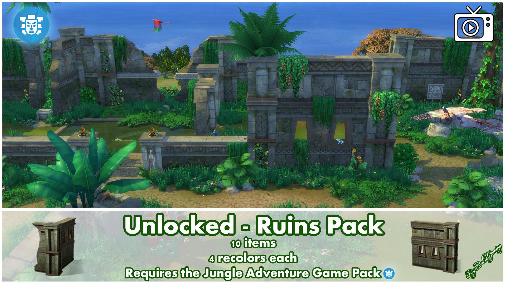 ModTheSims - Unlocked - Ruins Pack - Jungle Adventure