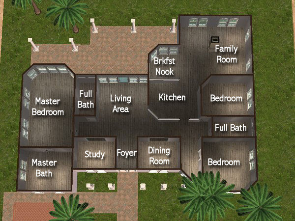 Mod the sims house of light and stone 3bdrm 3bath no cc for Sims house layouts