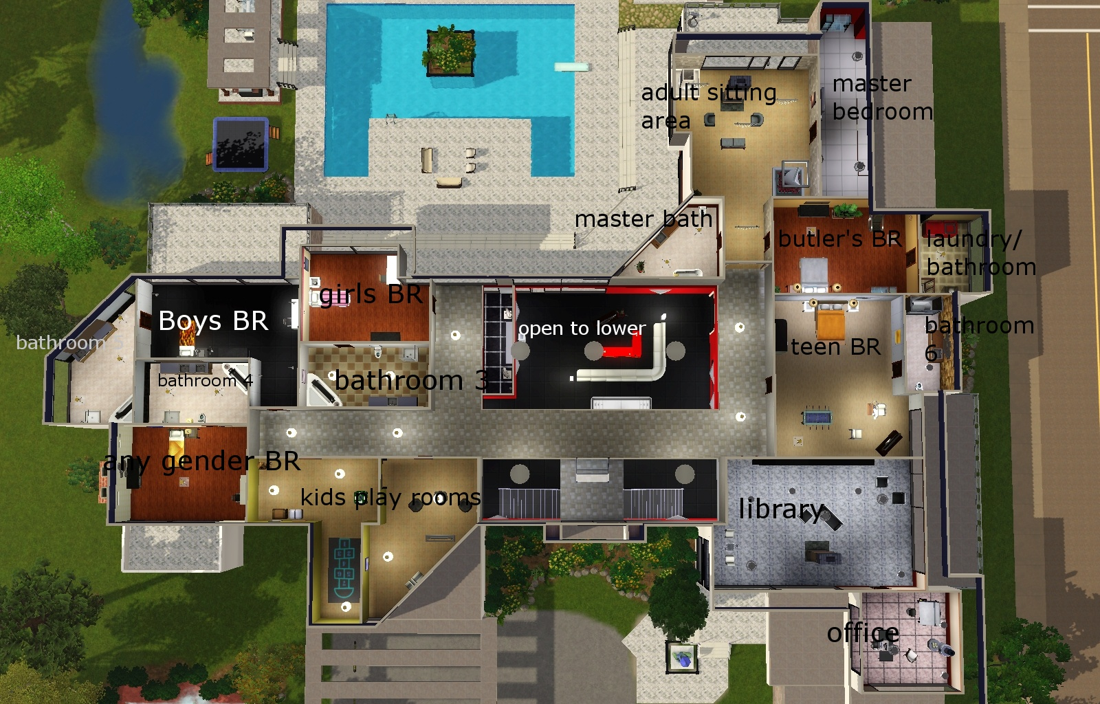 Mod the sims massive modern mansion for Big modern house sims 4