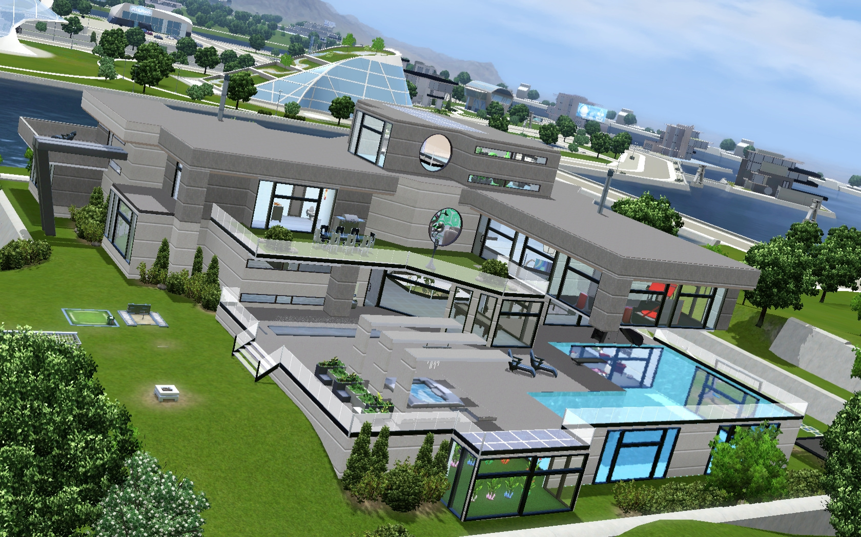 Mod the sims entertainment futuristic mansion for Modern house ep 9
