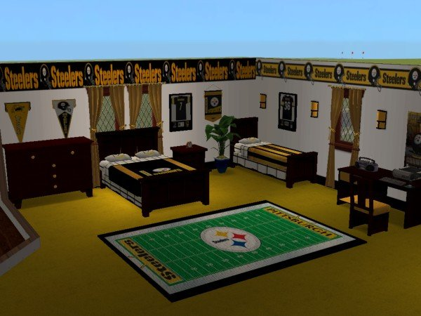 Mod The Sims Pittsburgh Steelers Bedroom And Living Room For My Best Friend