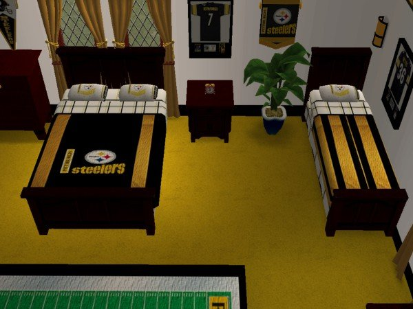 mod the sims pittsburgh steelers bedroom and living room for my