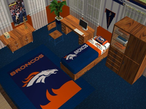 Mod the sims denver broncos bedroom requested by jeffsta17 for Denver broncos bedroom ideas
