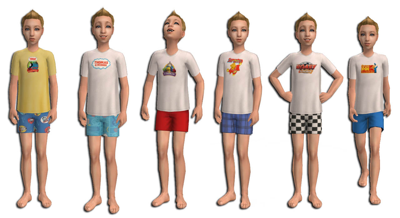 Sims 3 Cartoon Characters : Mod the sims boys licensed pjs with abc characters