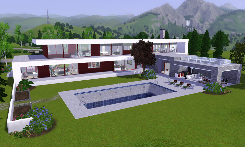 Mod the sims the hilltop house a modern villa for Hilltop house designs