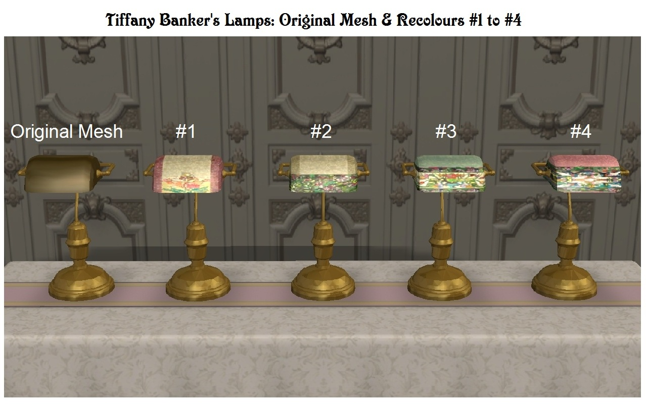 mod the sims antique banker 39 s lamps tiffany recolours. Black Bedroom Furniture Sets. Home Design Ideas