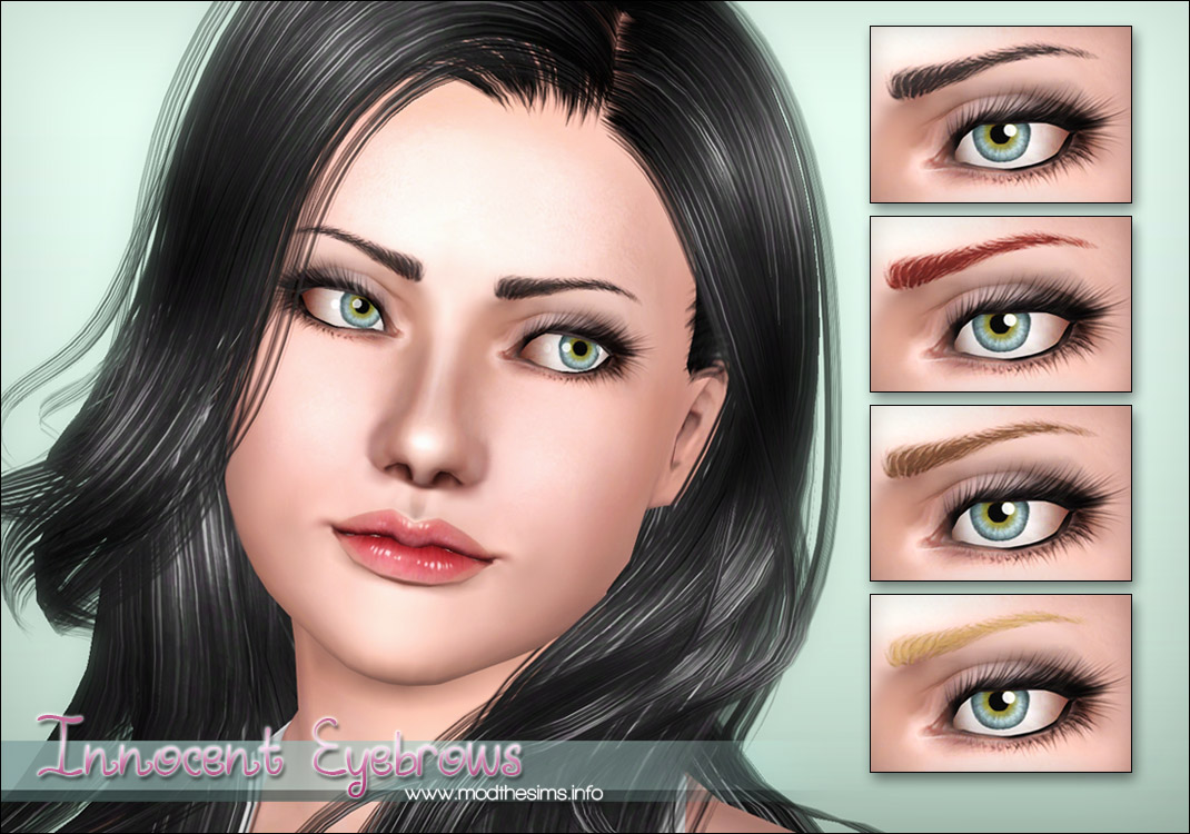 "Mod The Sims - ""Innocent"" - Thin Shaped Eyebrows for Females"