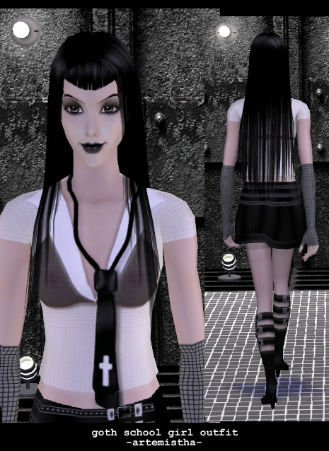 Mod The Sims - Goth School Girl Outfit for Adult Female