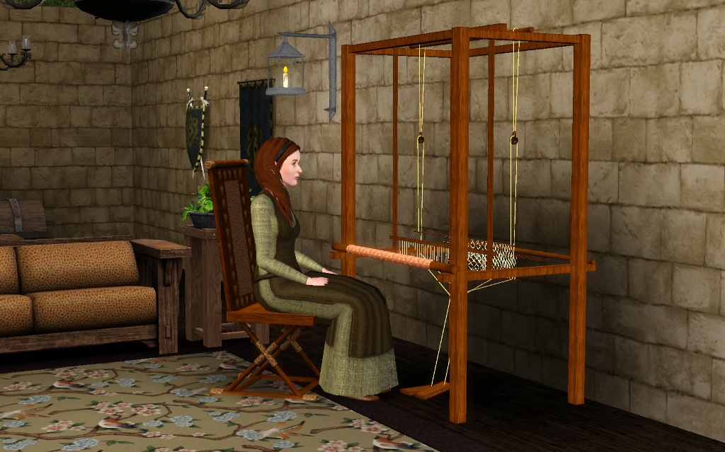 Mod the sims medieval weaving loom dresser ye olde for Medieval living room furniture