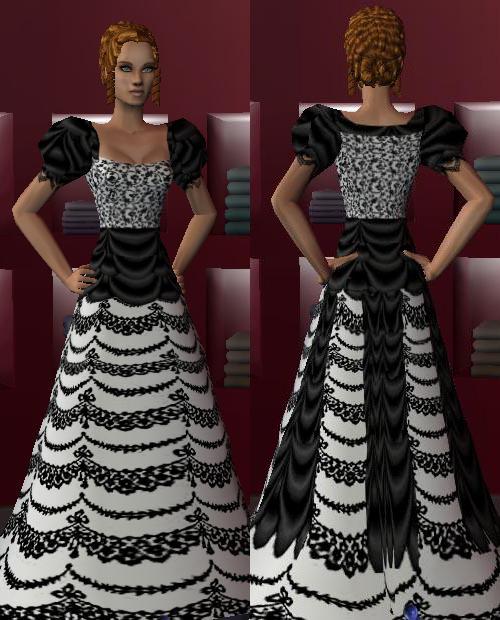 Пышное платье с рукавами-колокольчиками.