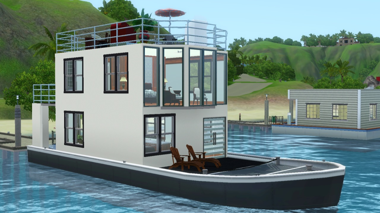 Mod The Sims Salt And Pepper House Boat - Modern custom houseboat graphics