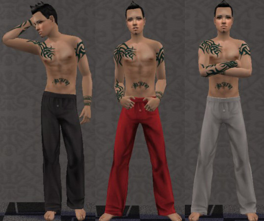 Sleepwear with tattoos for adult and young adult males.