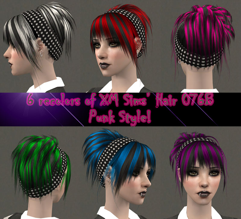 I made 6 streaked punk recolors of this hairstyle.