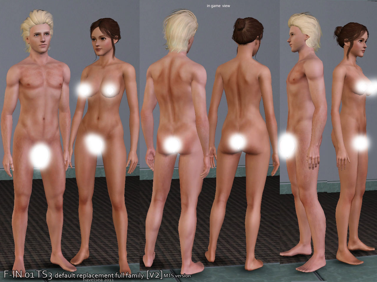 Nude anatomically male and female sims erotic clip