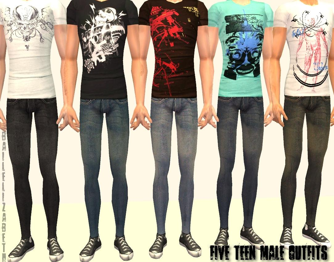 Click image for larger version Name: 05tm.jpg Size: 147.0 ... - Mod The Sims - More Slim Fit Tees And Skinny Jeans - 5 Teen Male
