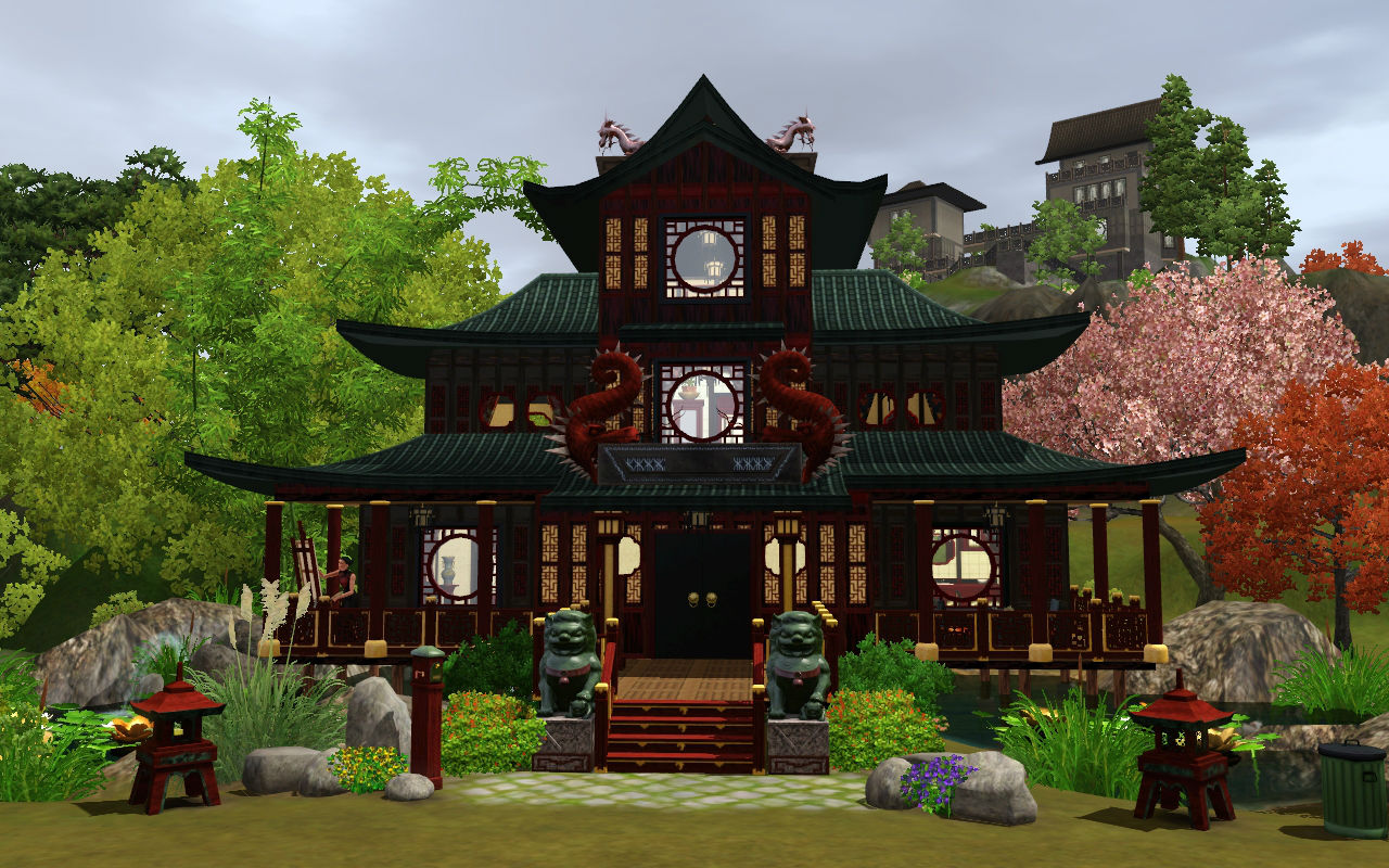 Mod the sims house of the red dragons for Asian houses photos