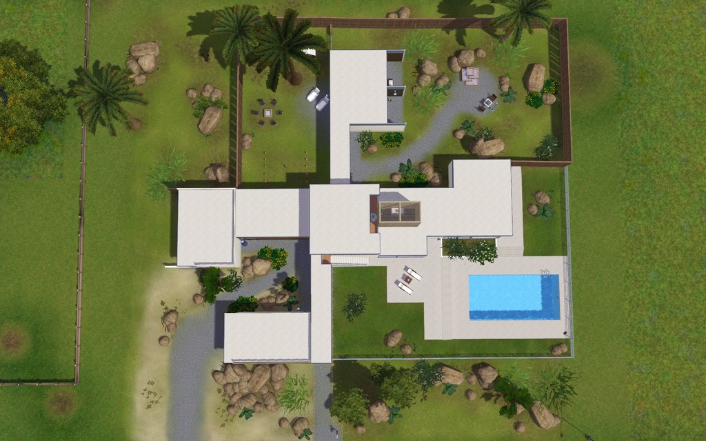 Mod the sims the kaufmann house Birds eye view house plan
