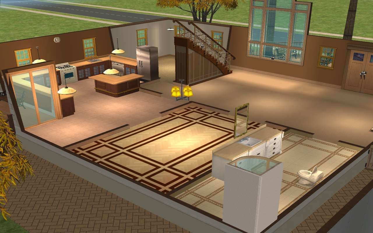 Mod the sims khaki home for Sims 4 living room ideas
