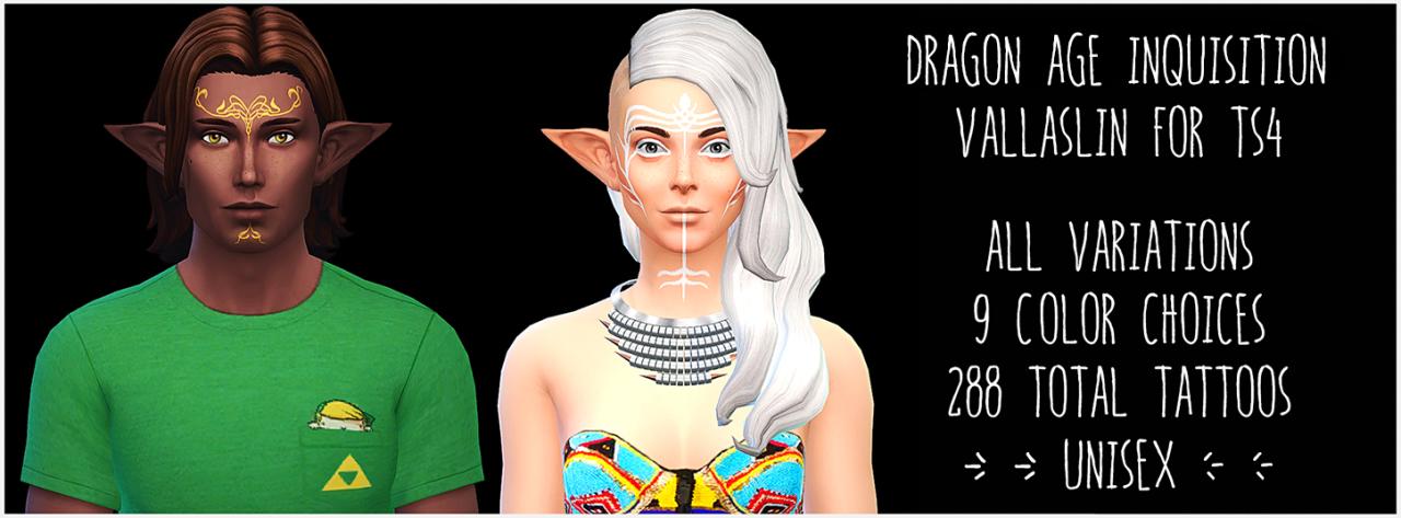 Mod The Sims - Dalish Vallaslin (Facial Tattoos) - UNISEX - ALL